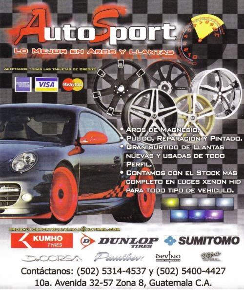 Venta de llanta y aros para vehiculos en guatemala - aros auto sport