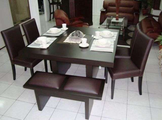 Pin vendo comedor 8 sillas con vitrina de madera segunda for Comedor 8 personas cuadrado
