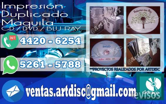 Impresion de cd, dvd, blu-ray calidad inkjet full color.