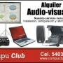 Alquiler de cañoneras, laptops, audio y pantallas