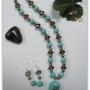 Collar Turquesa, Perlas y Cristal Facetado