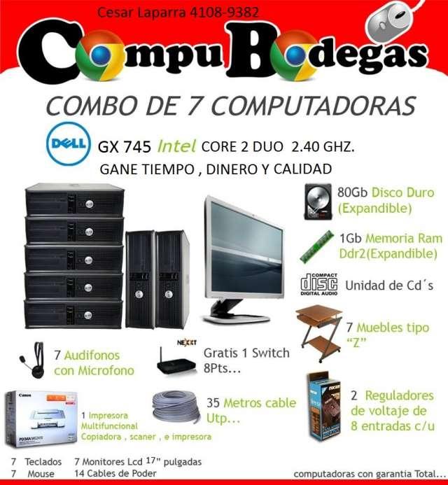 Combo de 7 dell gx 745 desktop core 2 duo para café internet.