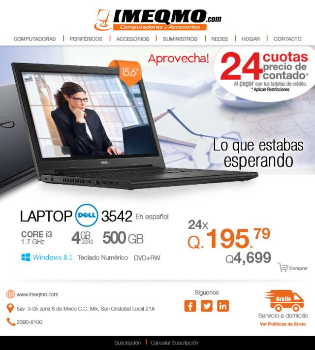 Laptop dell 3542 español core i3