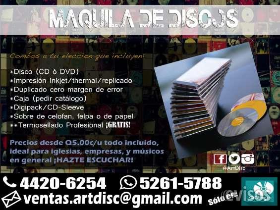 Maquila de cd's, dvd's y blu-ray, termosellado ¡gratis!