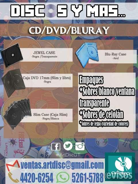 Cajas para discos, empaques, cd sleeve, sobres cd, dvd, blu-ray, cajas slim, jewel case.