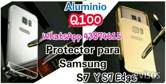 Protector marco de aluminio tipo espejo s7 y s7 edge