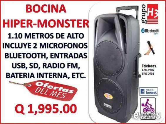 Bocinas amplificadas hiper monster con doble woofer de 15""