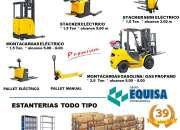 Montacargas, stackers,  y pallets