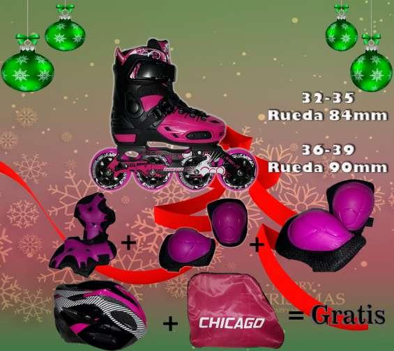Patín chicago profesional (sin freno) 32 al 35 con rueda 84mm q1,100.00 del 36 al 39 q1,200.00 los patines son tallas ajustables, cuentan con cojinetes abec 13, con chasis de aluminio desmontable y ademas cuentan con ¡garantía! por desperfectos de fábrica