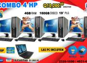 COMBO TODO INCLUIDO DE 04 COMPUTADORAS HP+01 LAPTOP DELL PROCESADOR COREi5 A Tan Solo Q 10