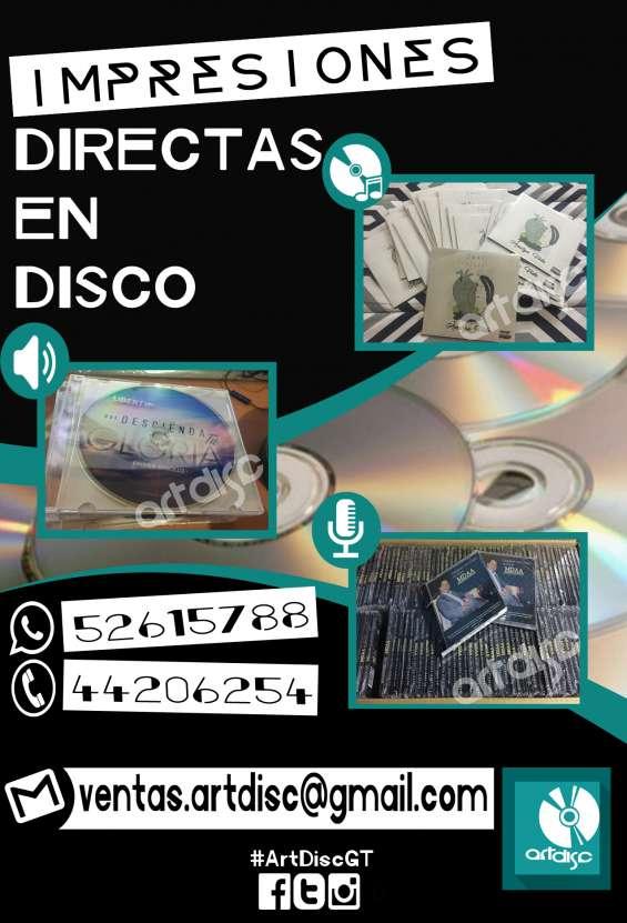 Discos impresos, empacados, duplicados desde q.5.00 ¡todo incluído! maquila de discos gt