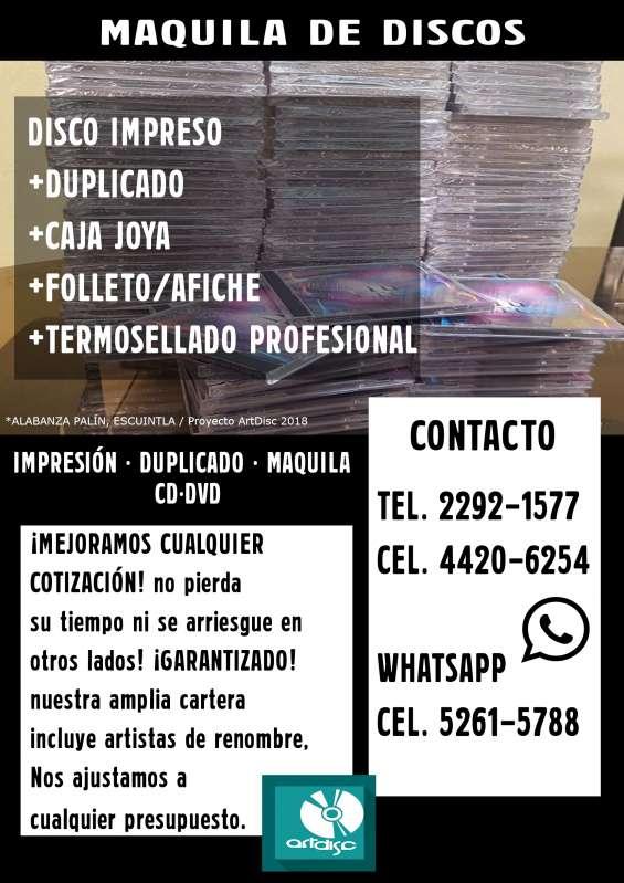 Maquila de discos ideal para bandas, músicos, iglesias y más. cd/dvd y +