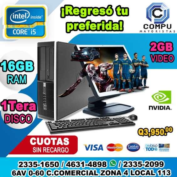 Computadoras hp corei5, 16gb ram, 1tera disco duro, 02gb de video, lcd 22p a q 3,950.00,