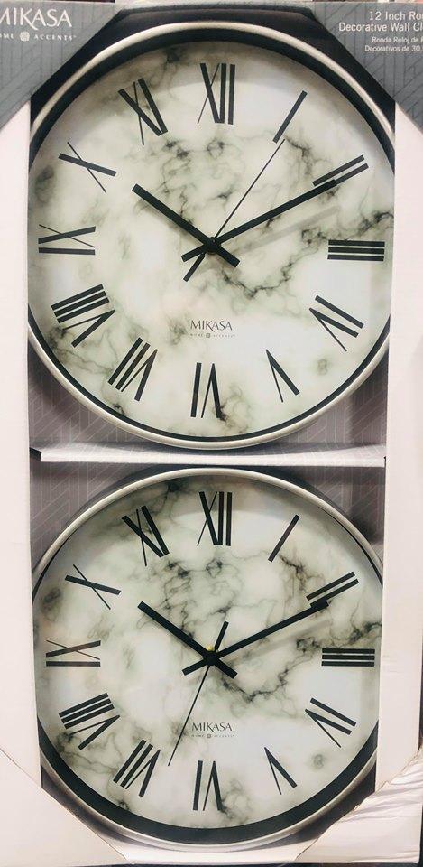 Set de 2 relojes decorativo demarca mikasa estilo romano de 30.5 cm cada uno para pared