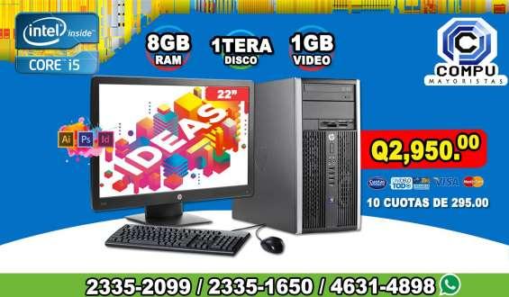 Potentes computadoras hp corei5, 08gb ram, 1tera disco duro, 01gb de video, lcd 22p a q 2,